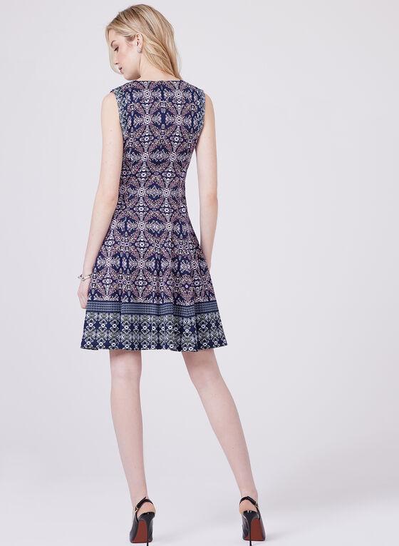 Maggy London - Robe ajustée et évasée à motif tapisserie, Bleu, hi-res