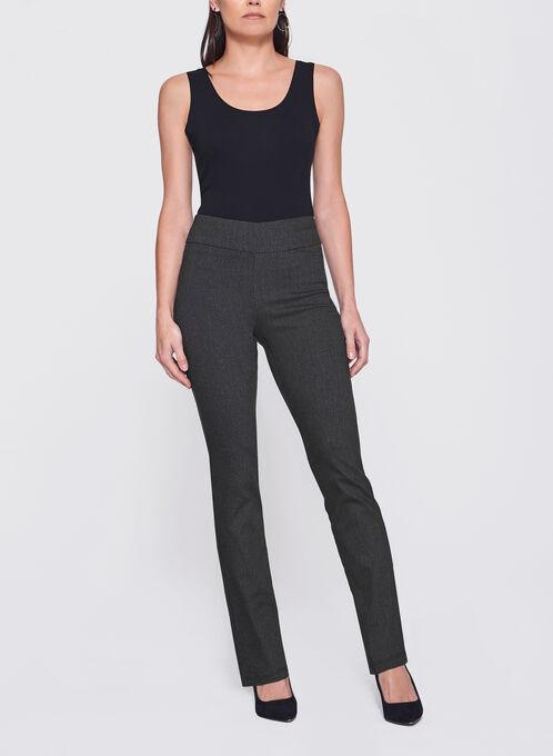 Pantalon pull-on à jambe droite en jacquard, Noir, hi-res