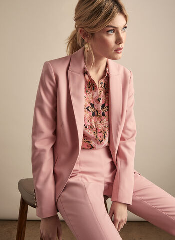 Veste à col cranté et épaulettes, Rose,  veste, col cranté, manches longues, boutons décoratifs, poches, printemps été 2020
