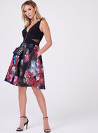 Floral Print Fit & Flare Dress , Red, hi-res