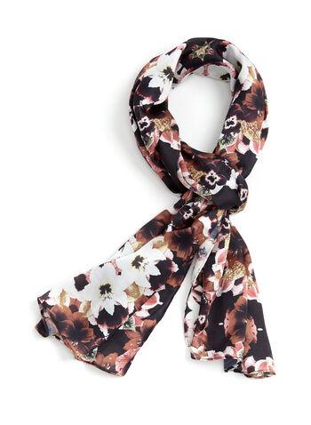 Floral Print Lightweight Scarf , Black, hi-res