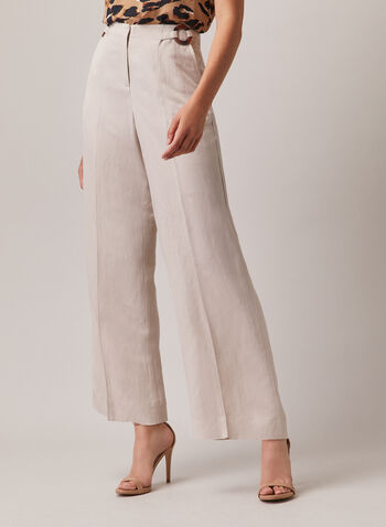 Linen Wide Leg Pants, Off White,  pants, wide leg, linen, high rise, pockets, pleats, spring summer 2020
