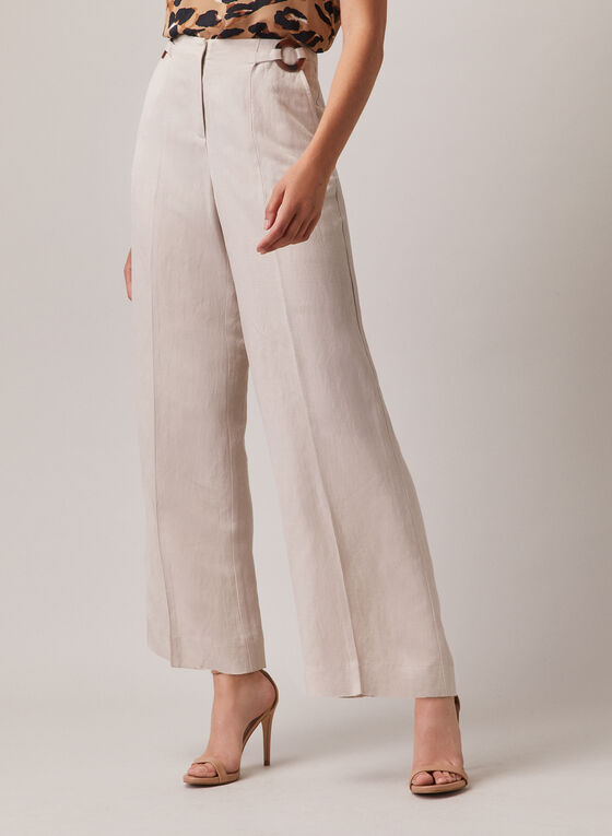 Linen Wide Leg Pants, Off White