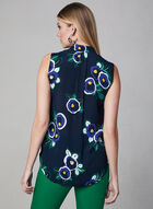 Floral Print Sleeveless Blouse, Green, hi-res