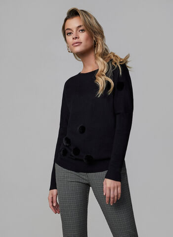 Vex - Pompom Sweater, Black, hi-res,  Vex, sweater, knit, long sleeves, dolman sleeves, fall 2019, winter 2019