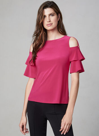 Ruffle Sleeve Top, Multi,  fall winter 2019, jersey fabric, boat neck, cold shoulder