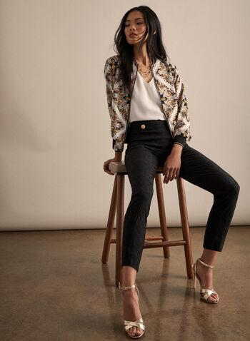 Pantalon à jambe étroite en jacquard, Noir,  fleurs, floral, texture, texturé, boutons métalliques, printemps été 2020