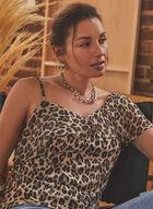 Vince Camuto - Haut léopard à épaule dénudée, Noir