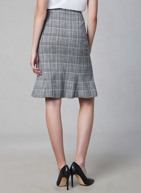 Plaid Print Skirt, Grey