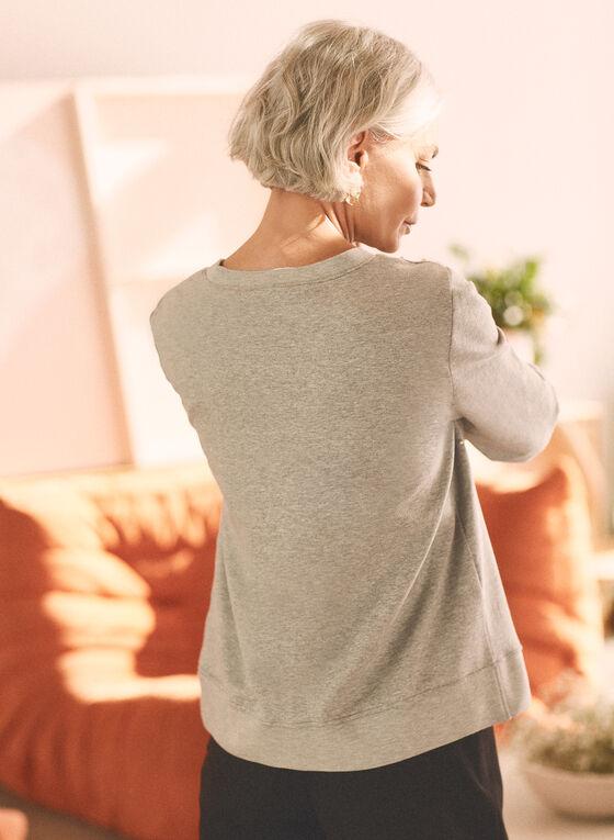 Haut en tricot à détails perlés , Gris