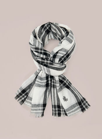 Ralph Lauren - Plaid Print Scarf, Black,  fall winter 2020, ralph lauren, scarf, accessories, polyester, plaid, print, pattern, outerwear