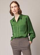 Puffed Sleeve Rivet Detail Blouse, Green