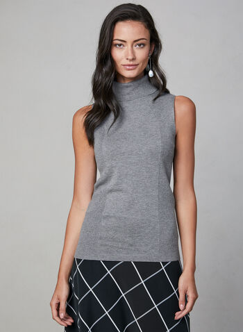 Sleeveless Turtleneck Top, Grey, hi-res,  knit, ribbed, fall 2019, winter 2019