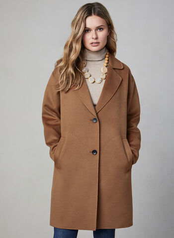 Bernardo - Wool-like Overcoat, Brown, hi-res,  wool blend, wool coat, coat, long coat, buttons, jacket, long sleeves, notch collar, fall 2019, winter 2019