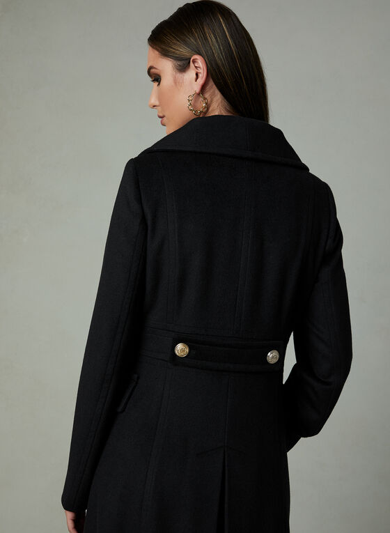 Karl Lagerfeld Paris - Long Redingote Coat, Black, hi-res