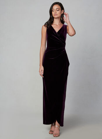 Alex Evenings - Draped Velvet Dress, Purple, hi-res,  fall winter 2019, velvet, sleeveless, long dress, gown, surplice neckline