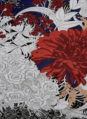 Floral Lace Print Scarf, Black, hi-res