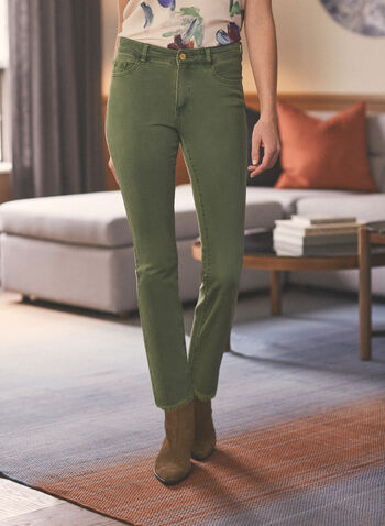 Flared Leg Frayed Hem Jeans, Green,  jeans, denim, frayed, pockets, flared, spring summer 2021