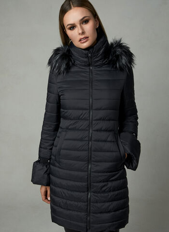 Quilted Bell Sleeve Coat, Black, hi-res