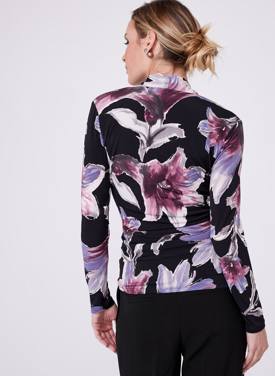 Floral Print Surplice Neck Top , Purple, hi-res