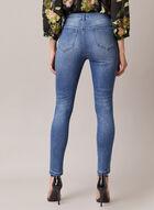 Jeans étroit à pierres et motif dentelle , Bleu