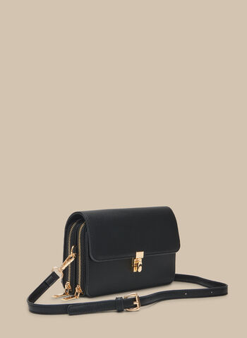 Crossbody Camera Bag  , Black,  crossbody, camera bag, zipper, faux leather, gold accents, removable straps, spring 2020