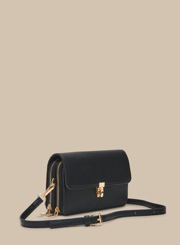 Pochette cartable zippée, Noir,  pochette, cartable, zip, similicuir, accents, bandoulière, printemps été 2020 doré