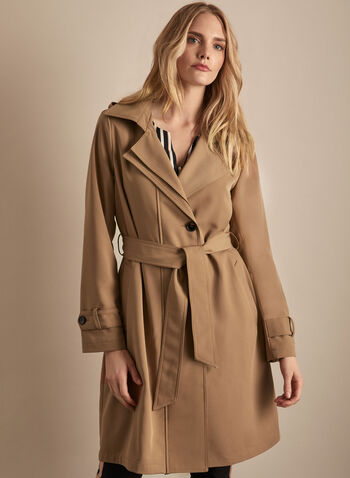 Novelti - Belted Trench Coat, Brown,  spring summer 2020, long sleeves, button closure