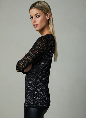 Long Sleeve Lace Top, Black, hi-res
