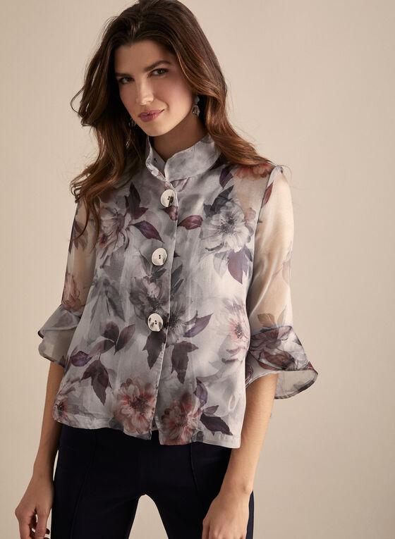 Joseph Ribkoff - Floral Organza Jacket, Grey