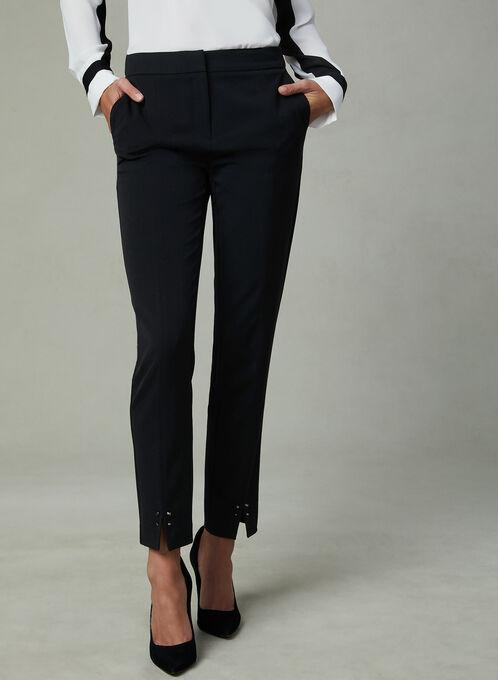 Studded Split Hem Ankle Pants, Black, hi-res