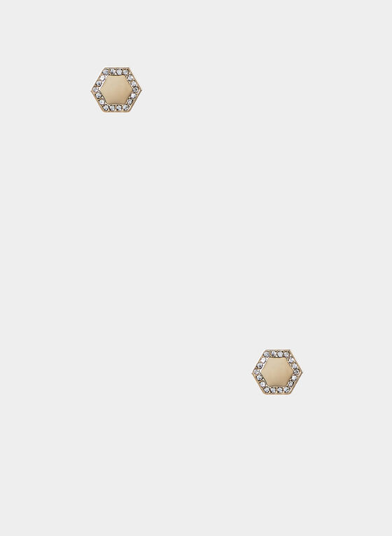 Hexagonal Stud Earrings, Gold