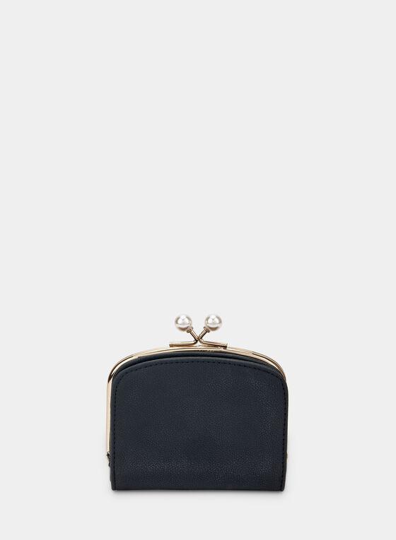 Pearl Embellished Wallet, Black