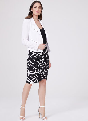 Leaf Print Ruched Pencil Skirt, Black, hi-res