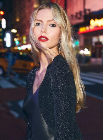 Glitter Knit Bolero, Black,  top, cover-up, bolero, glitter, long sleeves, open front, fall winter 2020