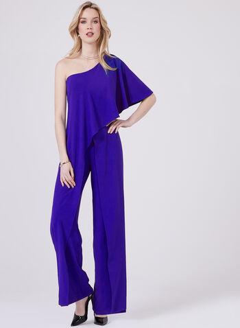 Marina - One Shoulder Crepe Jumpsuit, Blue, hi-res