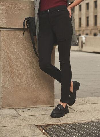 Sequin Detail Slim Leg Jeans, Black,  denim, jeans, slim leg, 5 pocket style, belt loops, patches, sequins, cuffs, fall winter 2021