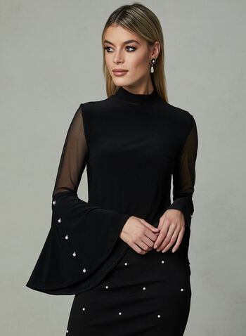 Frank Lyman - Pearl Detail Bell Sleeve Top, Black, hi-res