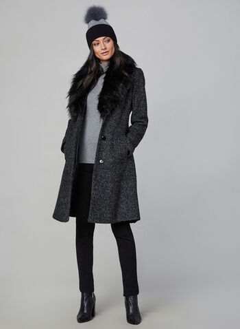 Novelti - Bouclé Wool Coat, Grey,  coat, winter coat, faux fur, faux fur coat, wool coat, buttoned coat, fall 2019, winter 2019