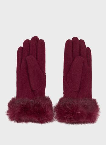 Gants texturés en tricot laine et fourrure , Rouge, hi-res