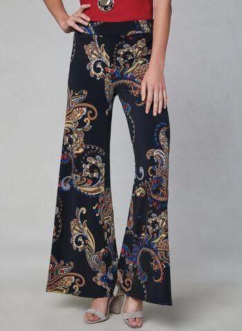 Pantalon motif cachemire à jambe large, Noir, hi-res,  automne hiver 2019, palazzo, jersey, imprimé, pull-on