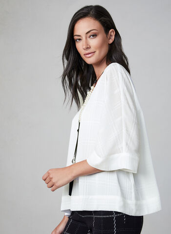 Plaid Print Kimono Sleeve Top, Off White, hi-res,  fall 2019, winter 2019, blouse, elbow sleeves, layered