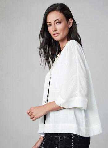 Blouse à carreaux et manches kimono, Blanc cassé, hi-res,  automne hiver 2019, blouse, haut, manches kimono, manches coude, manches courtes, crêpe, mousseline, carreaux, motif, satin