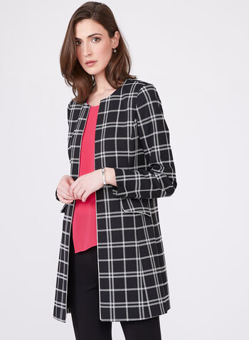 Windowpane Print Jacket, Black, hi-res
