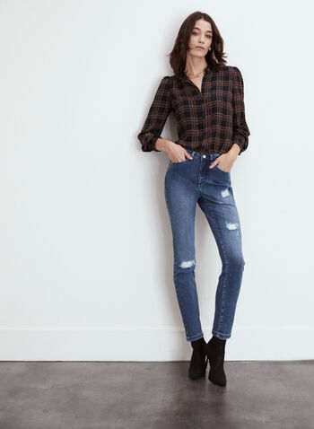 High Rise Distressed Jeans, Blue,  fall 2021, online exclusive, made in Canada, high rise, high-waisted, slim ;eg, 5 pocket, belt loops, distressed, distressed jeans, jeans, denim, stretch denim, ankle length, ankle jeans