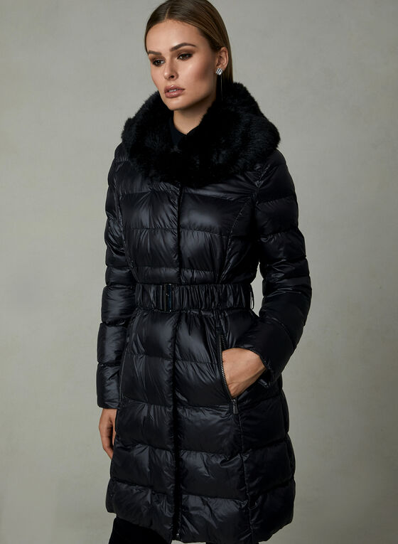 Manteau matelassé en duvet synthétique, Noir