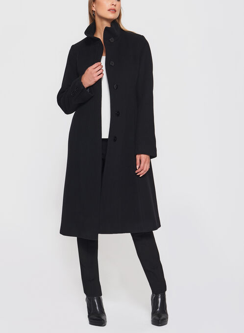 Mallia - Fit & Flare Wool Blend Coat, Black, hi-res