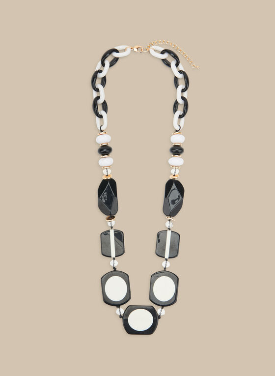 Long Lucite Bead Necklace, Black