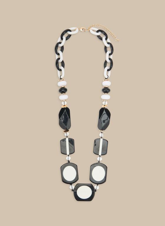 Collier long à pierres en lucite, Noir