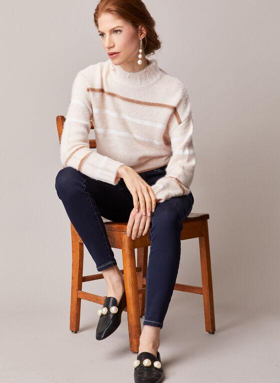 Elena Wang - Striped Mock Neck Sweater, Red
